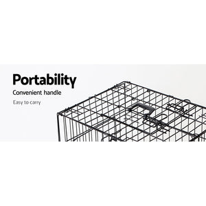 48inch Collapsible Pet Cage with Cover - Black & Blue