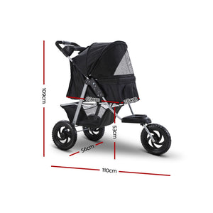 Pet Stroller Dog Carrier Foldable Pram Large Black