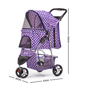 3 Wheel Pet Stroller - Purple