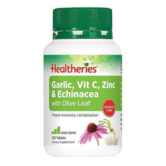 Healtheries Garlic, Vitamin C, Zinc & Echinacea with Olive Leaf 120 Tablets