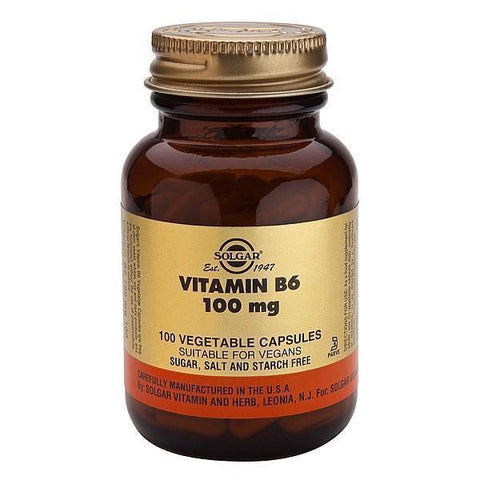 Solgar Vitamin B6 100mg (Pyridoxine) 100 Caps-Physical Product-Solgar-Supplements.co.nz