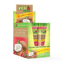 Vital Greens Coconut & Cranberry Bar 50g Pack of 12 - Supplements.co.nz
