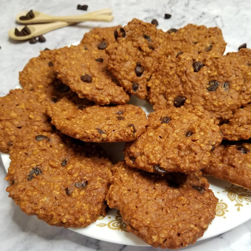 Pumpkin Chocolate Chip Oatmeal Protein Cookies