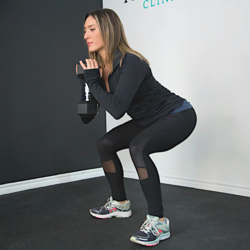 Dumbbells Squat Jump: Abs, Glutes & Quads