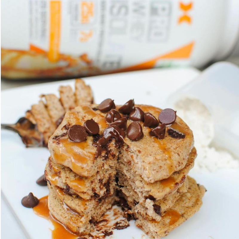 Salted Caramel Chocolate Chip Protein Pancakes