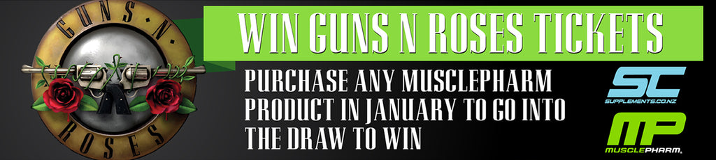 Buy any MusclePharm product for a chance to win Guns N' Roses tickets