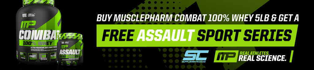 Free MusclePharm Assault Sport with purchase of MusclePharm Whey