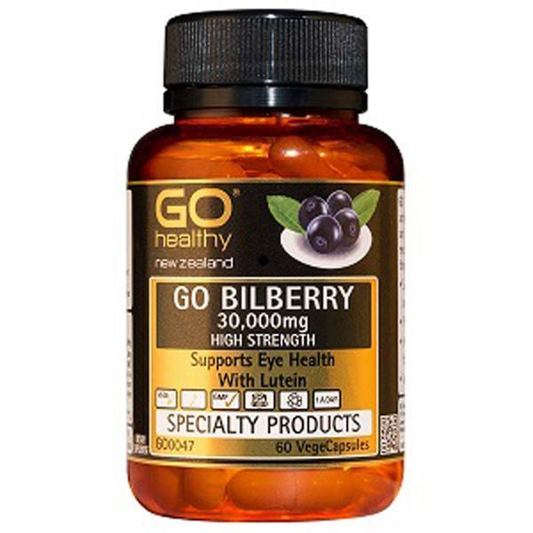 Go Healthy Go Bilberry 30,000mg 60 Veggie Caps - Supplements.co.nz
