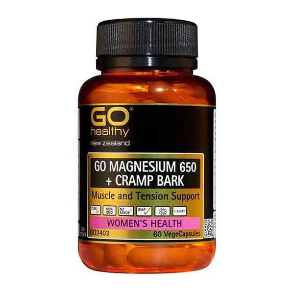 Go Healthy Go Magnesium 650+ Cramp Bark 60 Veggie Caps - Supplements.co.nz
