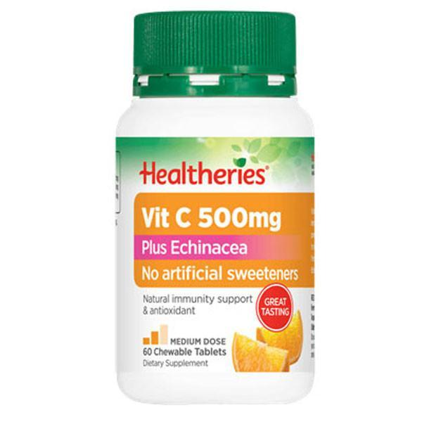 Healtheries Vit C 500mg Plus Echinacea 60 Chewable Tablets - Supplements.co.nz
