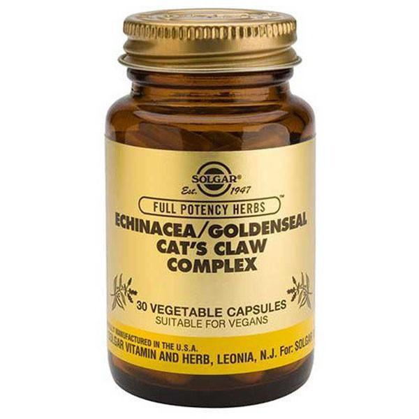 Solgar Echinacea/Goldenseal/Cat's Claw Complex 30 Vegetable Capsules-Physical Product-Solgar-Supplements.co.nz
