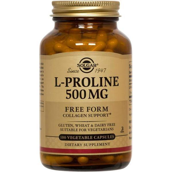 Solgar L-Proline 500 mg 100 Vegetable Capsules-Physical Product-Solgar-Supplements.co.nz