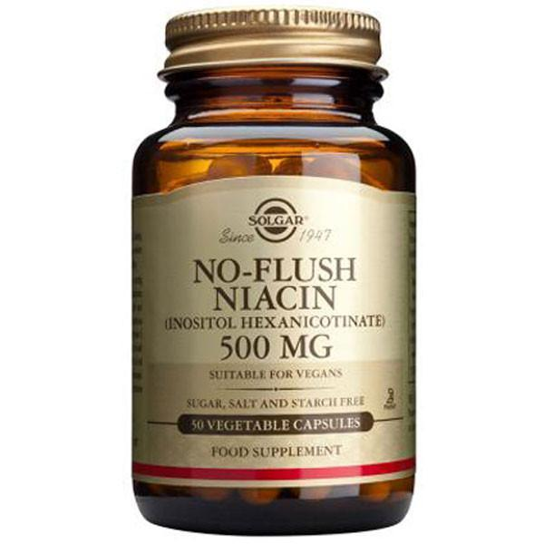 Solgar No Flush Niacin 500mg 50 Caps-Physical Product-Solgar-Supplements.co.nz