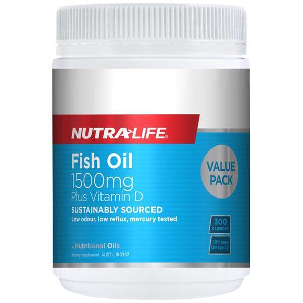 Nutralife Fish Oil 1500mg Plus Vitamin D 300 Caps - Supplements.co.nz