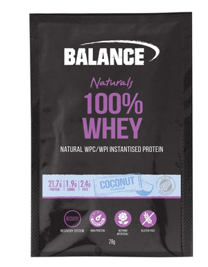 Balance 100% Whey Natural 28gx15 Coconut Sachets - Supplements.co.nz