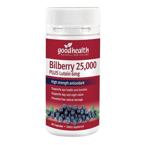 Good Health Bilberry 25,000mg + Lutein 6mg 60 Capsules - Supplements.co.nz