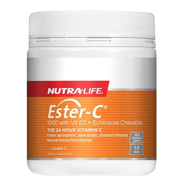 Nutralife Ester-C 1000mg + Vitamin D 120 Chewable Tablets - Supplements.co.nz
