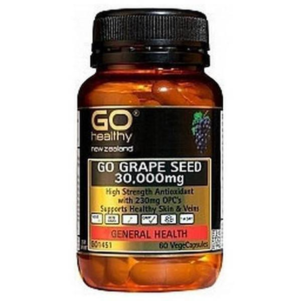 Go Healthy Go Grape Seed 30,000mg 60 Veggie Caps - Supplements.co.nz