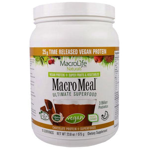 MacroLife Naturals Macro Meal Vegan Ultimate Superfood 675g Chocolate - Supplements.co.nz