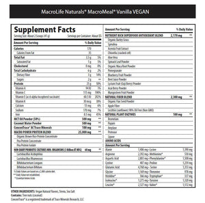 MacroLife Naturals Macro Meal Vegan Ultimate Superfood 615g Vanilla - Supplements.co.nz