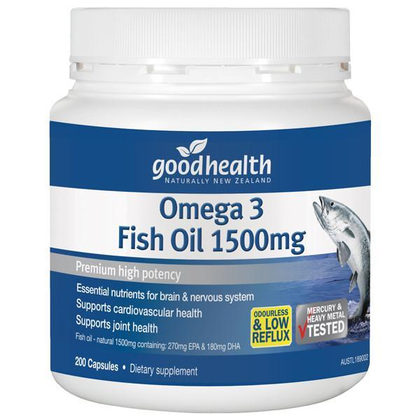 Good Health - Good Health Omega 3 Fish Oil 1500mg 200 Caps - Supplements.co.nz