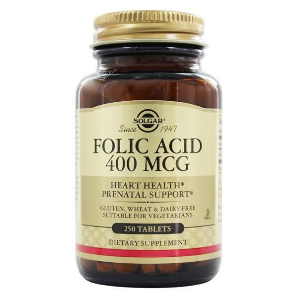 Solgar Folic Acid 400mcg 250 Tablets-Physical Product-Solgar-Supplements.co.nz