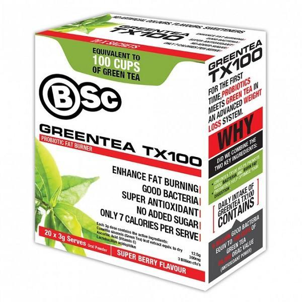 BSc Green Tea TX100, Super Berry flavour - Supplements.co.nz
