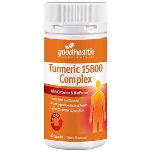 Good Health - Good Health Turmeric 15800 Complex 60 Capsules - Supplements.co.nz