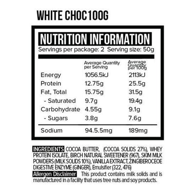 Vitawerx White Choc Bar 100g Box of 12 - Supplements.co.nz