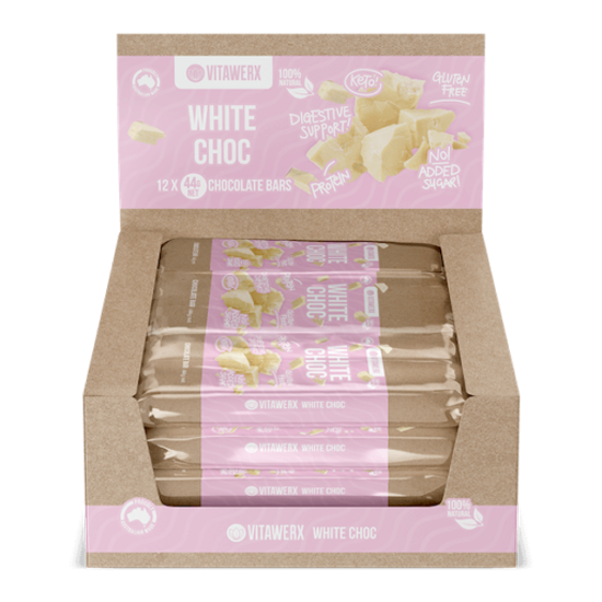 Vitawerx White Choc Bar 44g Box of 12 - Supplements.co.nz