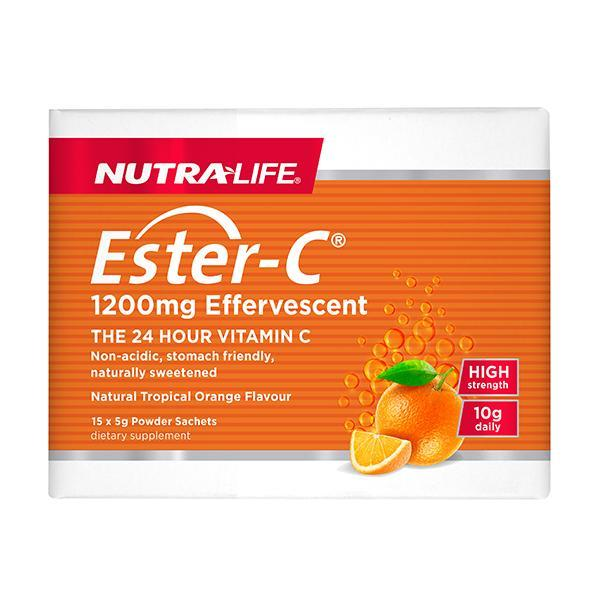Nutralife Ester C 1200mg Effervescent Sachets (Pack of 15) - Supplements.co.nz