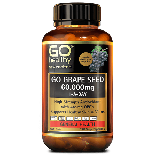 Go Healthy Go Grape Seed 60,000mg 120 Veggie Caps - Supplements.co.nz