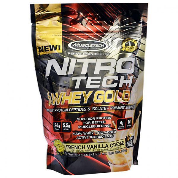 MuscleTech Nitro-Tech 100% Whey Gold 1lb (454g)-Physical Product-Muscletech-French Vanilla-Supplements.co.nz