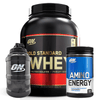 Optimum Nutrition Gold Standard 100% Whey 5lb / Amino Energy 30 Serves Combo + FREE Jug
