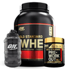 Optimum Nutrition Gold Standard 100% Whey 5lb / Pre-Workout 30 Serves Combo + FREE Jug