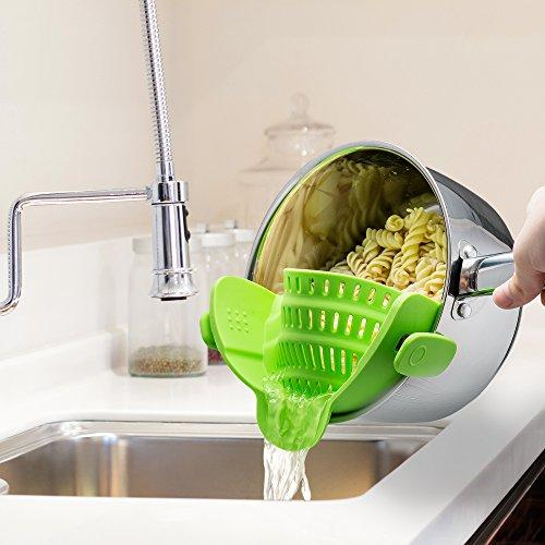 Cook-N-Strain™ - Clip On Silicone Colander, Fits all Pots and Bowls - Dot Com Product