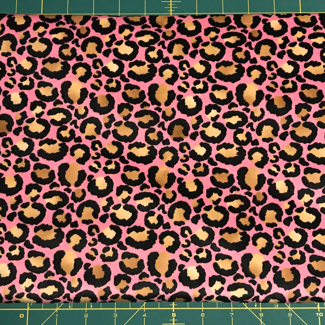 Candy Leopard laminated minky
