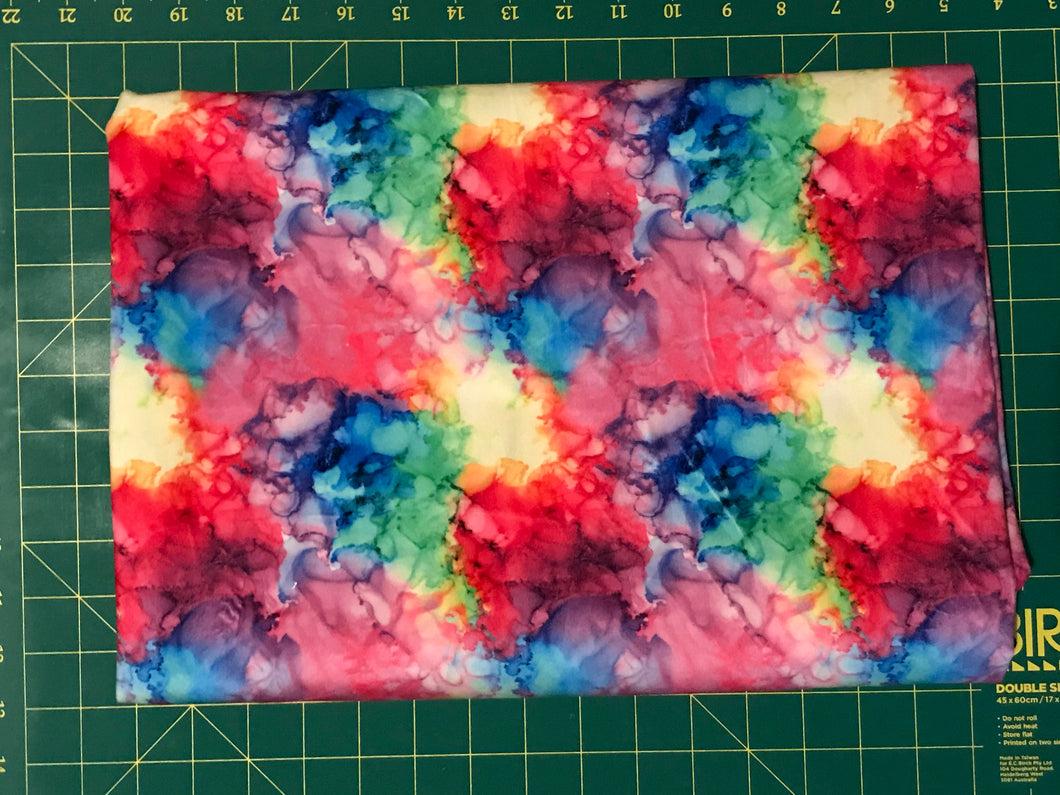 Rainbow Ink laminated minky