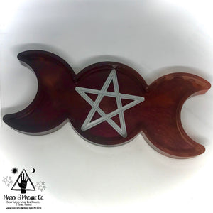 Blood Moon Offering Dish: Pentacle Moon Altar Decor