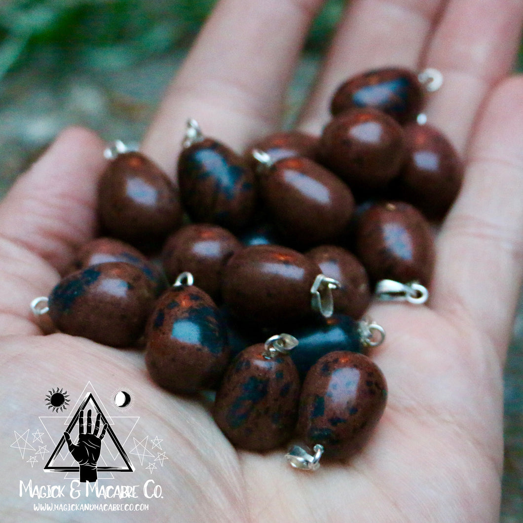 Mahogany Obsidian Tear Drop Necklace