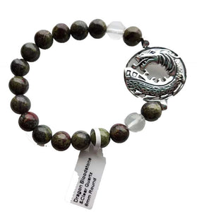 Dragon's Blood Stone Bracelet W/ Dragon Charm
