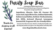 Load image into Gallery viewer, Purify Soap Bar: White Sage & Lemongrass w/ Activated Charcoal