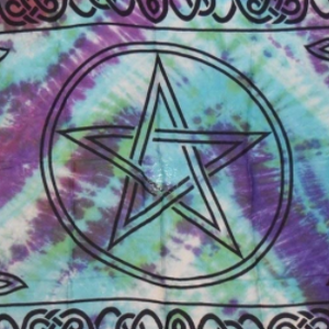 Pentacle Sarong (Green & Blue Tie Dye) Altar Cloth / Coverup
