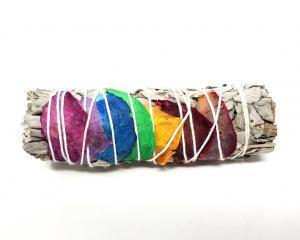 Seven Chakra / Rainbow White Sage with Rose