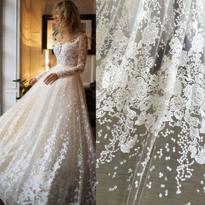 Shimmery Sequined Lace Fabric by 1 meter Embroidery Lace Tulle  Exquisite Flower  Lace for Wedding Dress Ballgown 55 inches Width