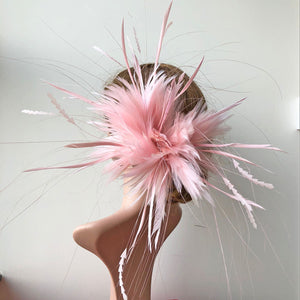 Fluffy Fascinator Flower Feather Twist Feather Craft   Millinery Hat Accessories for Formal Day