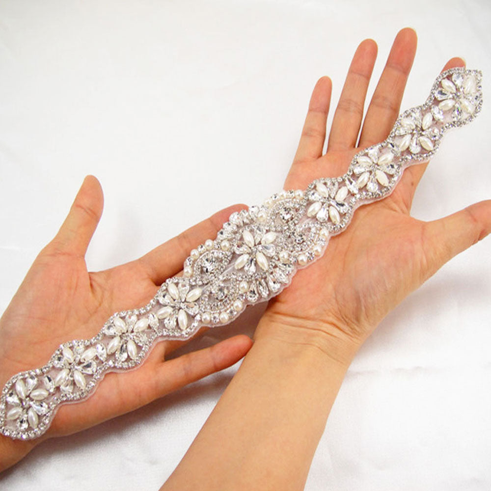 Rhinestone Sashes Applique Hot Fixed Rhinestone  Trims Addition for Bridal Belt