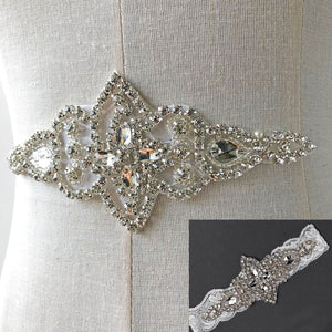 Rhinestone Applique Hot Fixed Crystal Patch Stone Addition for Costumes,Garters