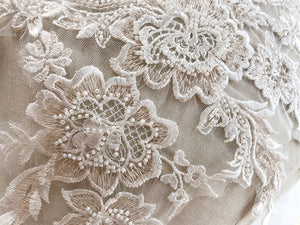 Beaded Flower Patch Light Champagne Embroidery Lace Applique Sew onto Bridal Dress,Wedding Gown