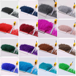 1 Metre Ostrich Feather Fluzzy Feather Ribbon Trims Satin Fringe Embellish for Performance Dress, Craft Projects